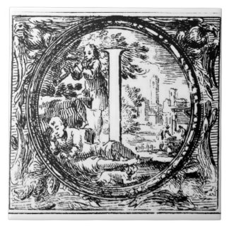 Illustrated Initial  (Italian Woodcut) Tile