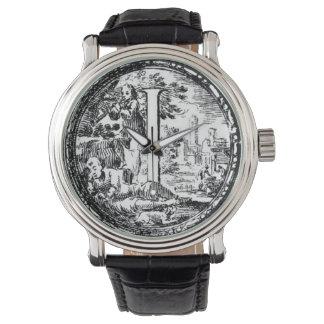 Illustrated Initial  (Italian Woodcut) Wrist Watch