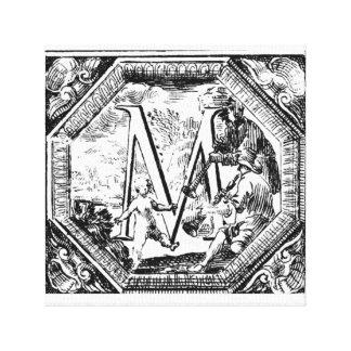 Illustrated Initial  M (Italian Woodcut) Canvas Print