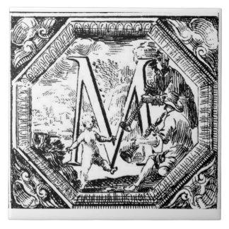 Illustrated Initial  M (Italian Woodcut) Ceramic Tile