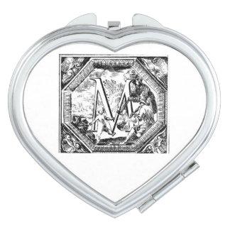Illustrated Initial  M (Italian Woodcut) Compact Mirror