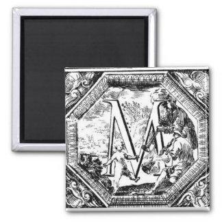 Illustrated Initial  M (Italian Woodcut) Magnet