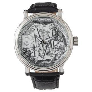 Illustrated Initial  M (Italian Woodcut) Wrist Watch