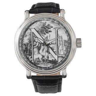 Illustrated Initial  N (Italian Woodcut) Wrist Watches