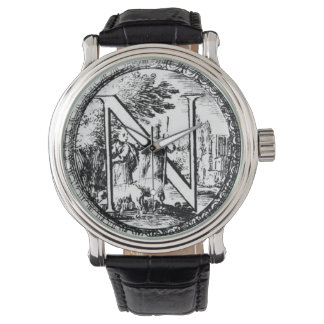 """Illustrated Initial """"N"""" (Italian Woodcut) Wristwatches"""