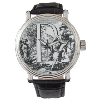 """Illustrated Initial """"R"""" (Italian Woodcut) Watches"""
