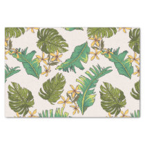 Illustrated Jungle Leaves Pattern Tissue Paper