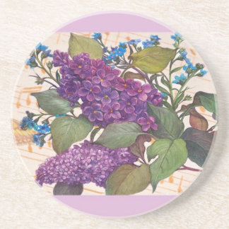 illustrated lilac butterfly theme wedding drink coaster
