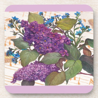 illustrated lilac butterfly theme wedding beverage coaster