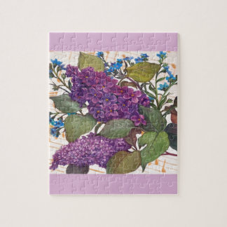 illustrated lilac butterfly theme wedding jigsaw puzzle