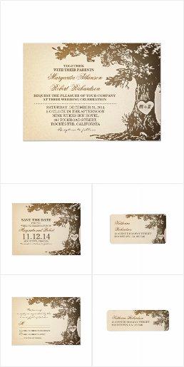 Illustrated Love Tree Wedding Invitation Collection Set
