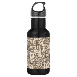 Illustrated Machinery Pattern Stainless Steel Water Bottle