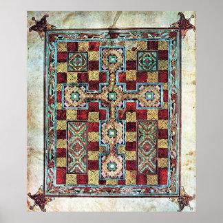 Illustrated Manuscript Cross Carpet Page Poster