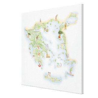 Illustrated map of Ancient Greece Canvas Print
