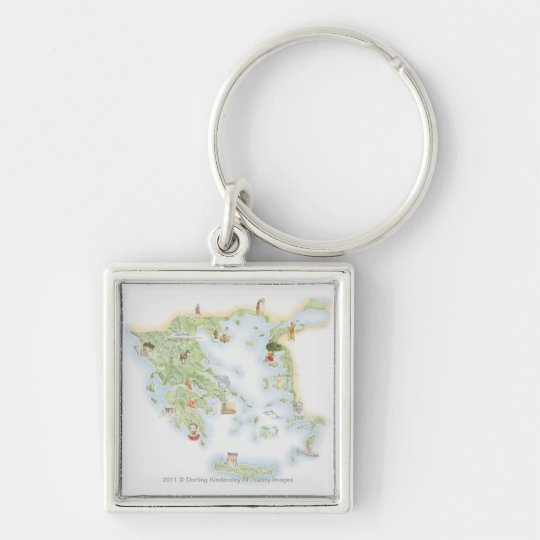 Illustrated map of Ancient Greece Keychain