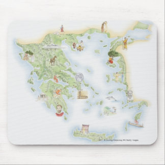 Illustrated map of Ancient Greece Mouse Pads