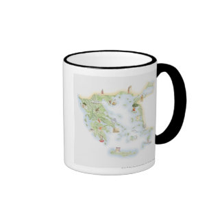 Illustrated map of Ancient Greece Ringer Coffee Mug