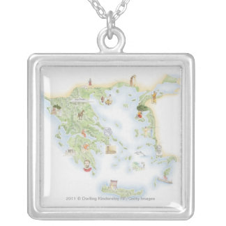 Illustrated map of Ancient Greece Silver Plated Necklace