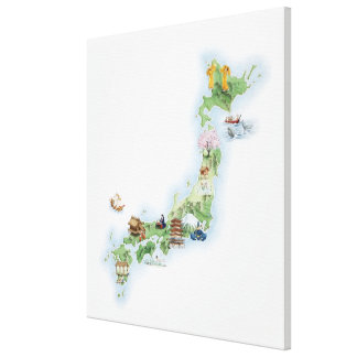 Illustrated map of ancient Japan Canvas Print
