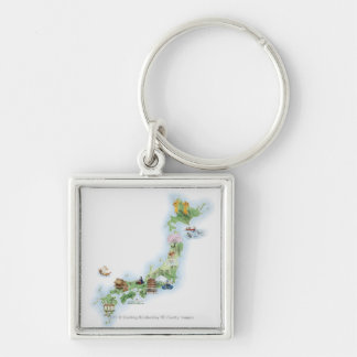 Illustrated map of ancient Japan Keychain