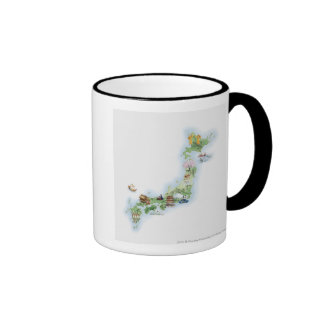 Illustrated map of ancient Japan Ringer Coffee Mug