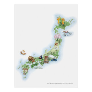 Illustrated map of ancient Japan Postcard