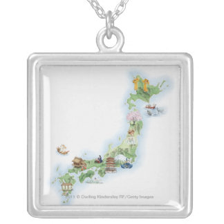 Illustrated map of ancient Japan Silver Plated Necklace