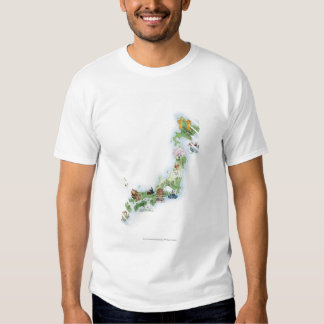 Illustrated map of ancient Japan T-Shirt