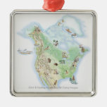 Illustrated map of North America Christmas Ornament