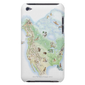 Illustrated map of North America showing iPod Touch Covers
