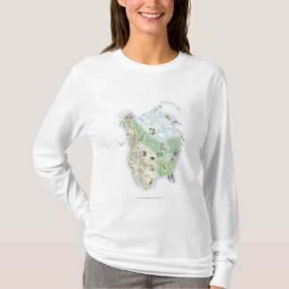 Illustrated map of North America T-Shirt