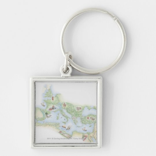 Illustrated map of Roman Empire Keychain