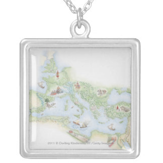 Illustrated map of Roman Empire Necklace