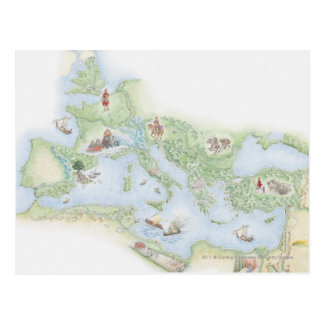 Illustrated map of Roman Empire Postcard