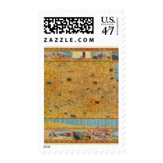 Illustrated Map of US Airways Postage