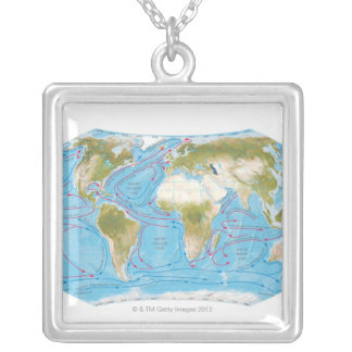 Illustrated Map Silver Plated Necklace