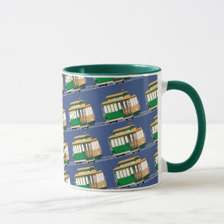 Illustrated Mini Cable Car Pattern Mug