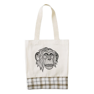 Illustrated Monkey Design Zazzle HEART Tote Bag