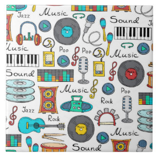 Illustrated music objects ceramic tile