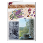 illustrated musical notes teacup collage greeting card