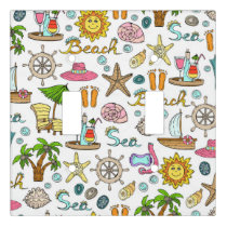 Illustrated nautical and beach objects light switch cover