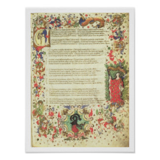 Illustrated Page from the Triumph by Petrarch (min Poster