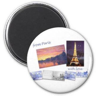 Illustrated PARIS LANDSCAPE STICKERS Refrigerator Magnets
