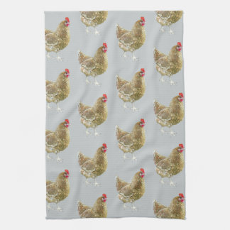 Illustrated Patterned Chicken Kitchen Tea Towel