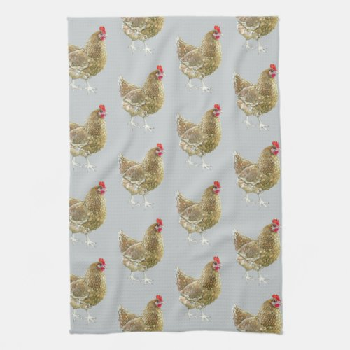 Patterned Tea Towel With Artistic Hens