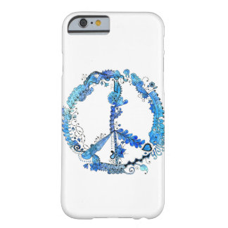 Illustrated Peace Sign Pen Art with Blue Barely There iPhone 6 Case