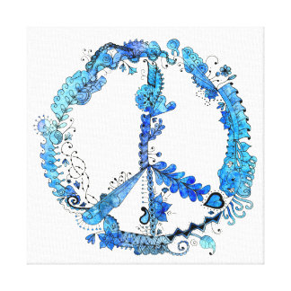 Illustrated Peace Sign Pen Art with Blue Canvas Print