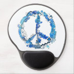 "Illustrated Peace Sign Pen Art with Blue Gel Mouse Pad<br><div class=""desc"">Hand Illustrated Peace Sign Pen Art with Blue Watercolors</div>"