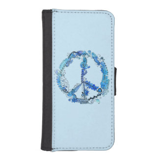 Illustrated Peace Sign Pen Art with Blue iPhone SE/5/5s Wallet