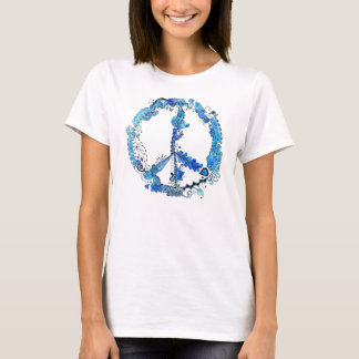 Illustrated Peace Sign Pen Art with Blue T-Shirt